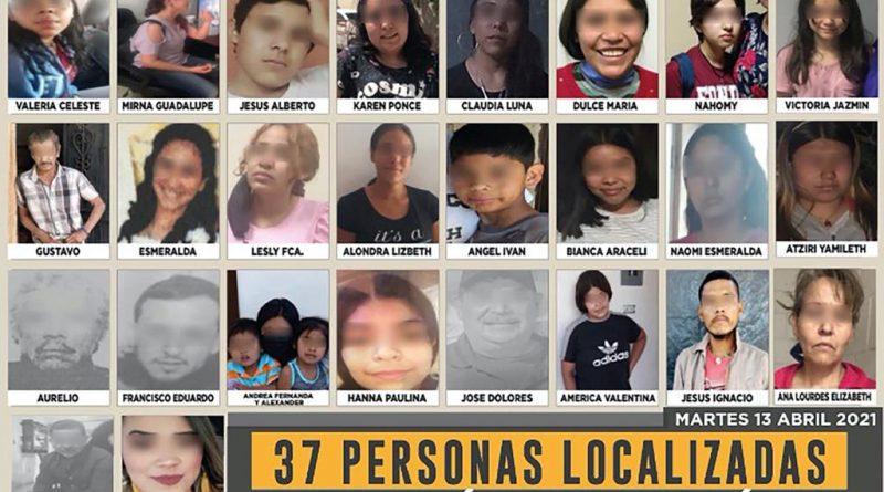Localizan a 37 personas reportadas como desaparecidas