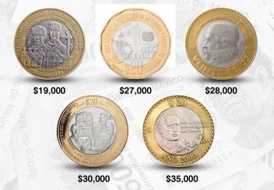 Estas son las cinco monedas de 20 pesos que juntas superan los más de 100,000 pesos en línea